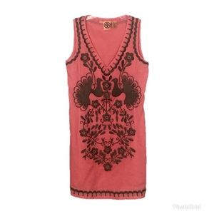 Tory Burch Coral Sleeveless Embroidered Dress 2